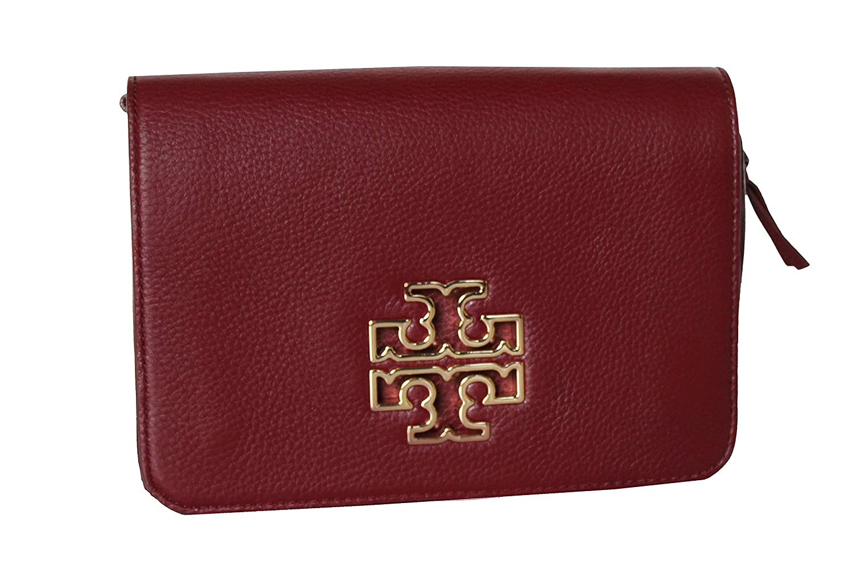 c8ce6506dc2 Amazon.com  Tory Burch Britten Pebbled Leather Combo Crossbody Bag  (Imperial Garnet)  Shoes