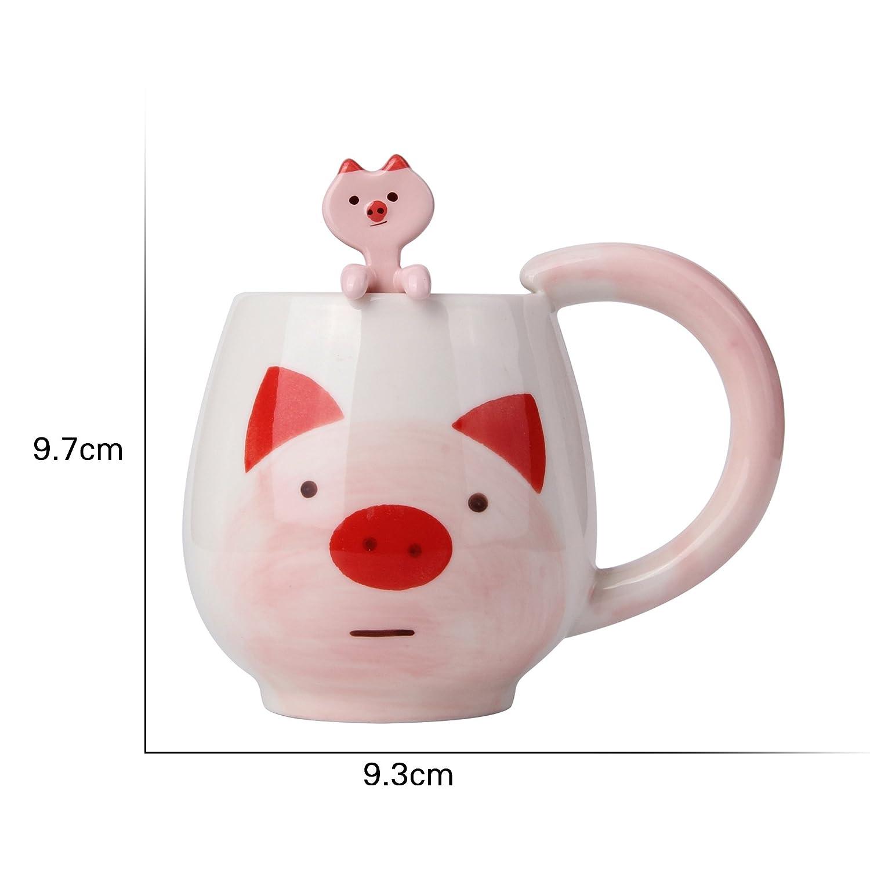 Spoon Inside 12 oz Pink Pig Bujingyun Lovely Mug Set