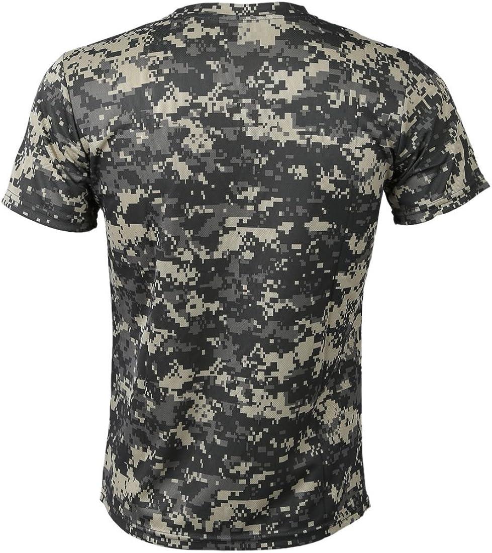 Cikuso Nuevo Camiseta camuflaje de caza al aire libre Camiseta del combate tactico del ejercito transpirable de hombre Camiseta de campamento camo de deporte seco militar Verde ACU L: Amazon.es: Ropa y