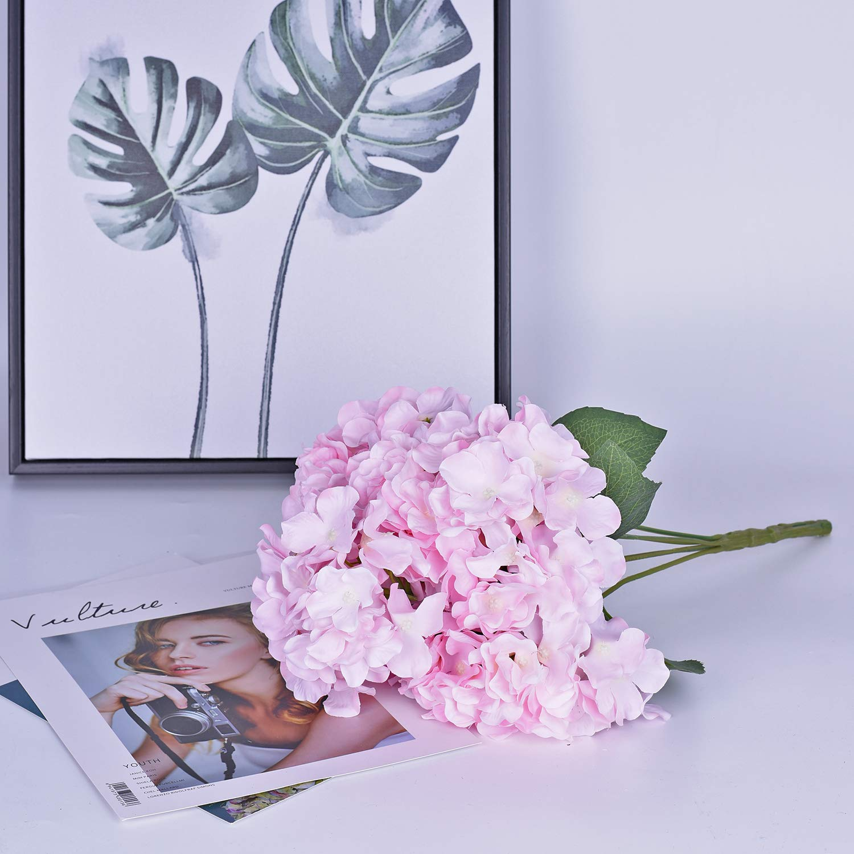 Bouquet Fiori Artificiali con 6 Teste Ortensia Bouquet Sposa Fiori Mazzo Decorazioni di Fiori Bouquet Matrimonio Giardino Decorazione Floreale YQing Fiori Finti Ortensia Artificiale Fiori