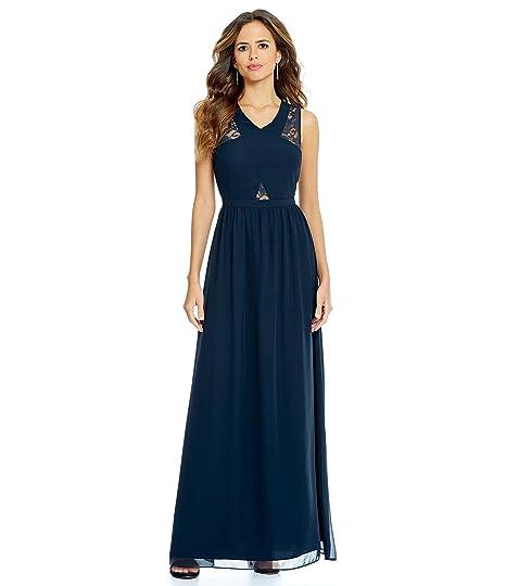 Gianni Bini Womens Blue Geneva Sheer Lace Maxi Dress 0 At Amazon