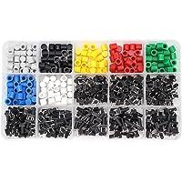Yuhtech Tactiele Drukknop Schakelaar, 420 Stks 8 Waarden 6x6mm Micro Momentary Tact Knop Schakelaars met Kleurrijke Knop…