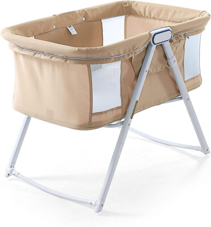 幼児0-18ヶ月の赤ちゃんに適しXXZJZB多機能折りたたみベッドベビーベビーベッドポータブルベッドベビーベッド,ベージュ