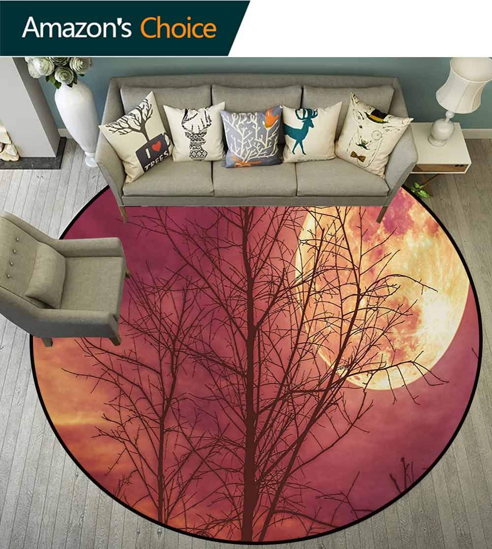 RUGSMAT Dark Red Non-Slip Area Rug Pad Round,Night Sky Super Moon Behind Silhouette of Dead Tree Serenity Nature Protect Floors While Securing Rug Making Vacuuming,Diameter-59 Inch