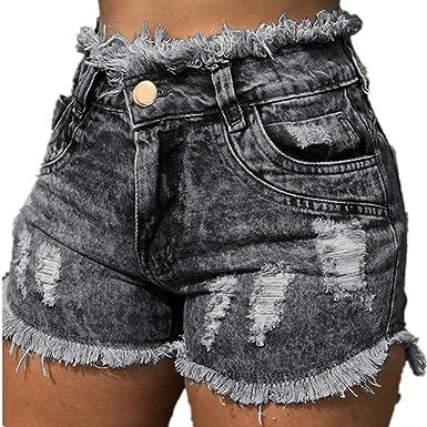 Yying Pantalones Cortos Para Mujeres Shorts De Mezclilla Moda Cintura Alta Rasgados Shorts Casual Denim Shorts Jeans Con Bolsillos S 3xl Amazon Es Ropa Y Accesorios