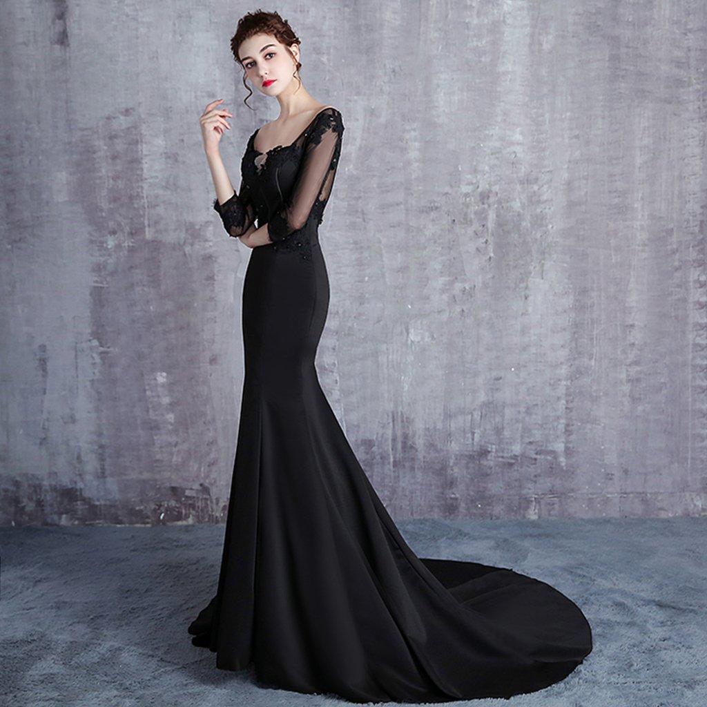Amazon Ladies Black Color Mermaid Wedding Dresses 23 Sleeves