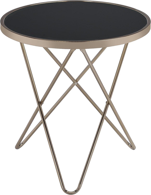 Acme Valora End Table, Black Glass & Champagne