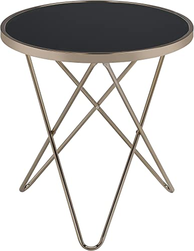Acme Valora End Table, Black Glass Champagne