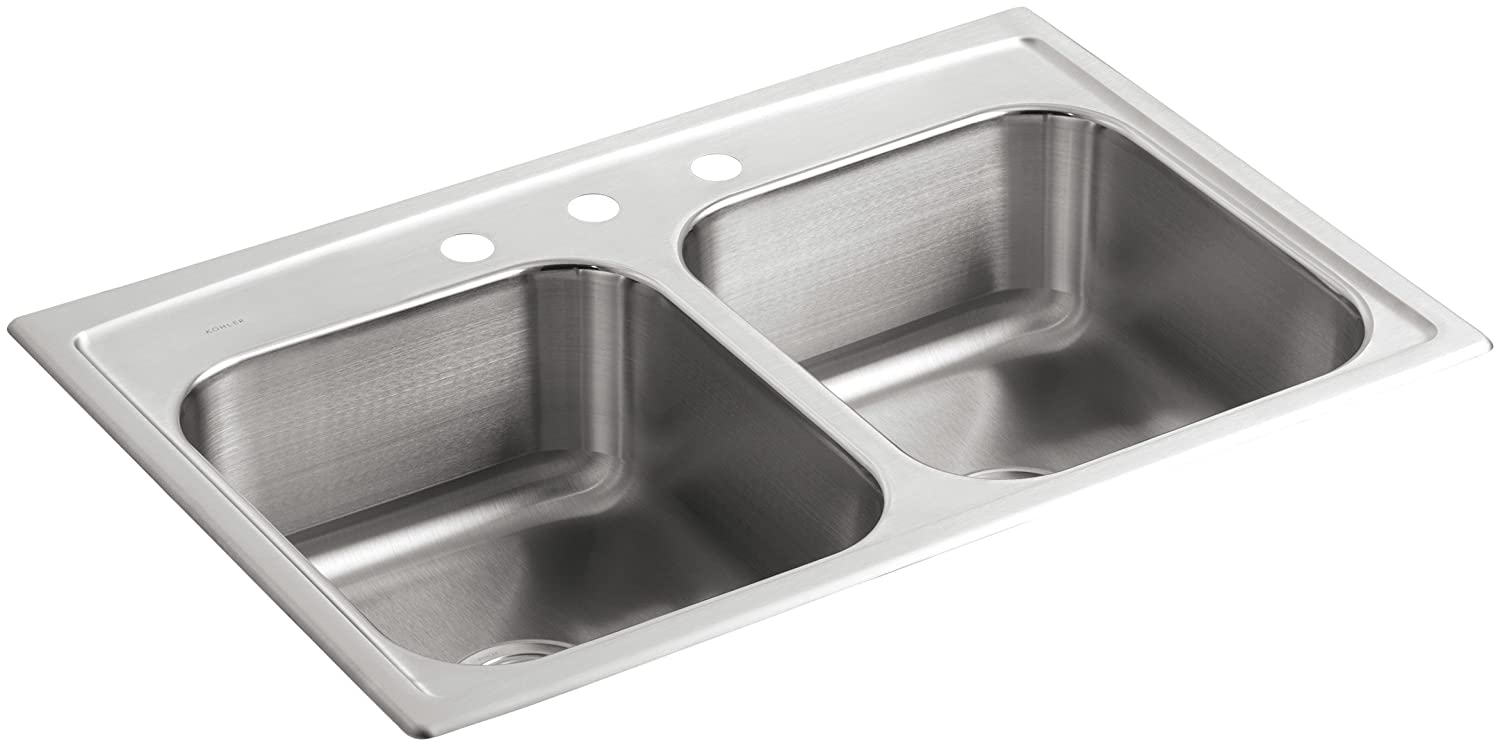 Kohler k 3346 3 na toccata double equal self rimming kitchen sink kohler k 3346 3 na toccata double equal self rimming kitchen sink stainless steel double bowl sinks amazon workwithnaturefo
