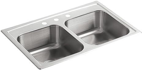 KOHLER K-3346-3-NA Toccata Double Equal Self-Rimming Kitchen Sink ...