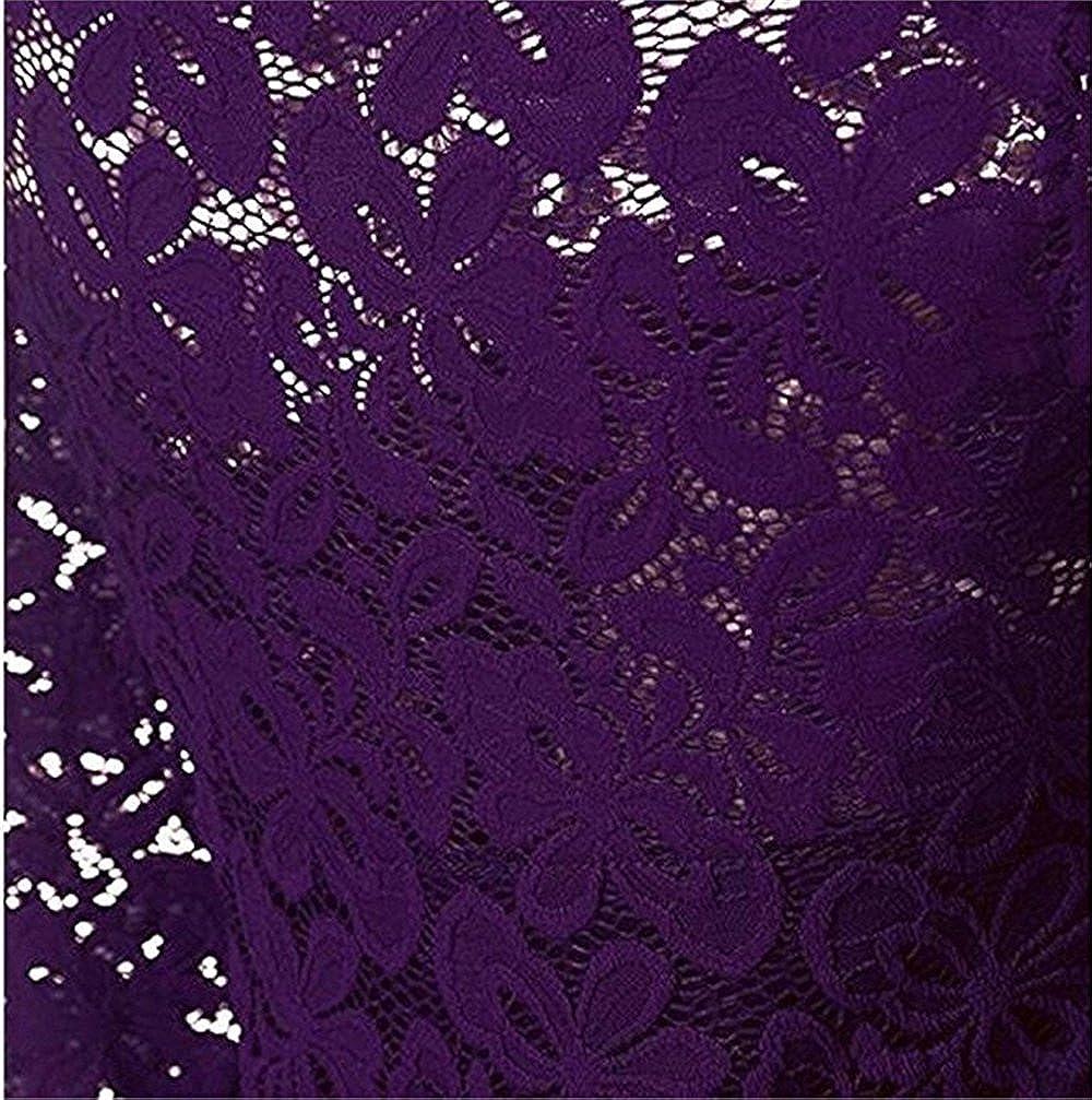 Cocktail c/ér/émonie de Mariage et Occasion solennelle Robe de soir/ée Manches Longues col Bateau Tombent sur Les Genoux MAGICMK Vintage Floral Lace Dress