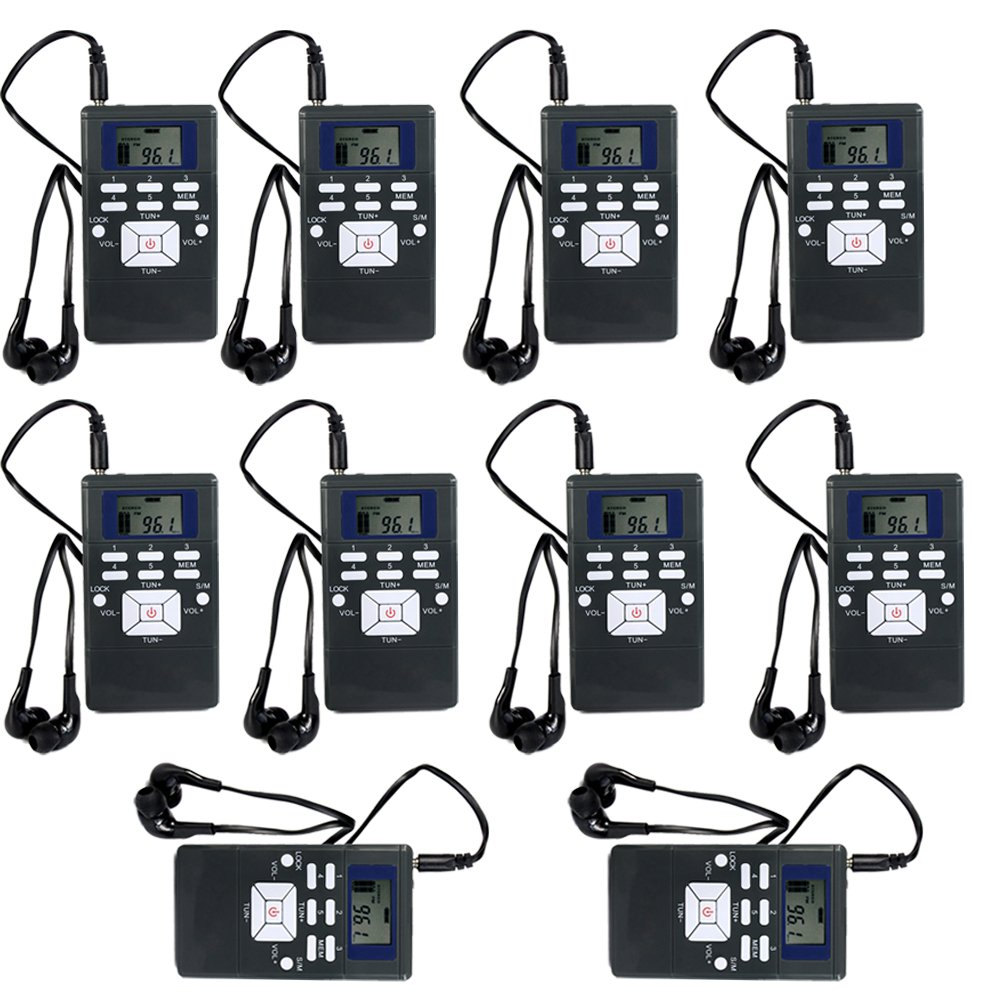 Retekess HRD-102 Portable DSP FM Radio for Tour Guide System Tour Guiding Teaching Travel Simultaneous Translation Meeting Museum Visiting(10 Pack)