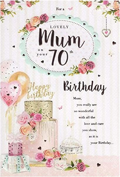 MUM 70th TRADITIONAL FLOWERS BIRTHDAY CARD