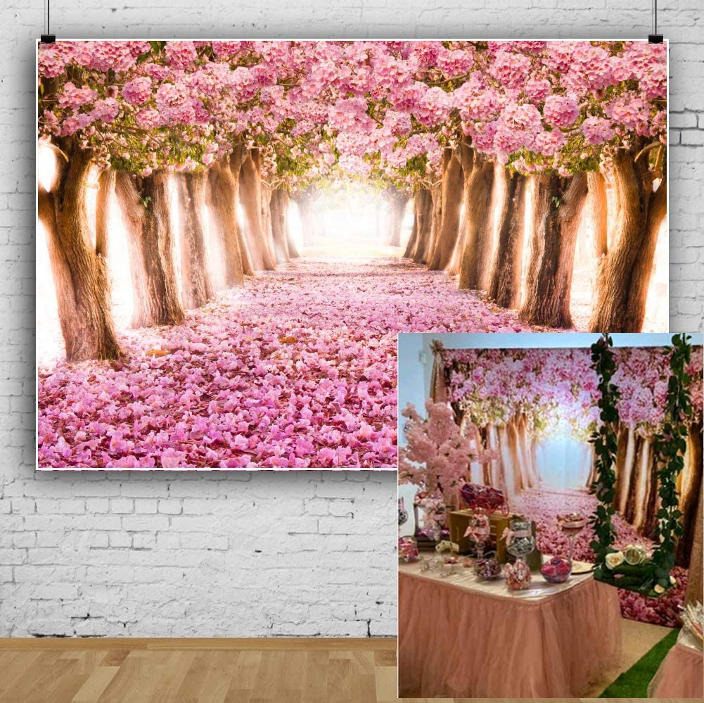 7x10 FT Cherry Blossom Vinyl Photography Background Backdrops,Spring Season Floral Hand Drawn Style Ornament Japanese Nature Background Newborn Baby Portrait Photo Studio Photobooth Props