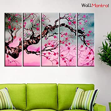 Wallmantra Cherry Blossom Tree Wall Painting 5 Pieces Canvas Print Wall Hanging Stretched And Framed On Wood 44 W X 24 H Home Decor For Living Room Bedroom Office Decoration Amazon In Home