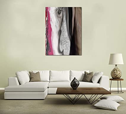 Pink Wood Grain Art Print On Canvas 20x15 Painting For Living Room