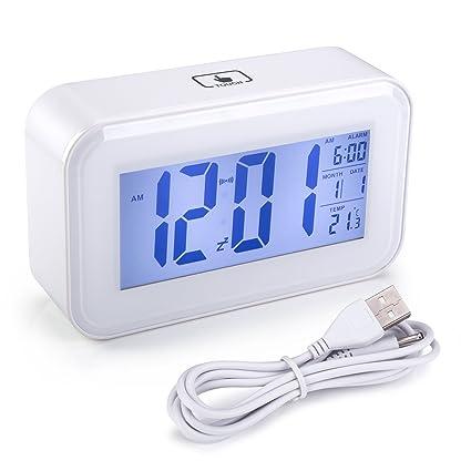 Reloj Despertador de Viaje, Arespark Reloj Despertador con Alarma Luz de Noche, Temperatura,