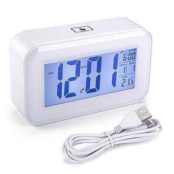 Reloj Despertador de Viaje, Arespark Reloj Despertador con Alarma Luz de Noche, Temperatura, Alarma, Calendario, Despertador Digital (Blanco): Amazon.es: ...
