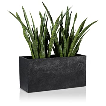 maceta jardinera de fibra de vidrio visio u color negro u maceta grande