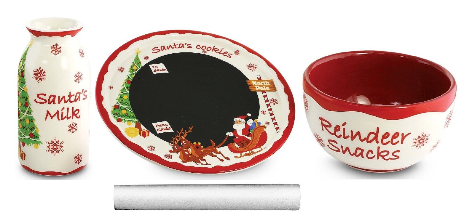 KOVOT Santa Message Plate Set - Chalkboard Plate, Mini Milk Jug, Mini Snack Bowl, Chalk Stick