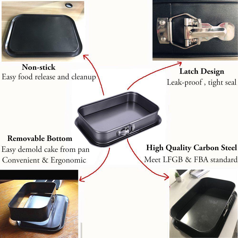 """Non-stick Cheesecake Pan, Springform Pan, Rectangle Cake Pan with Removable Bottom Leakproof & Quick Release Latch Bakeware 14""""9.3""""3"""" Black BY ERYA by Eyra (Image #3)"""