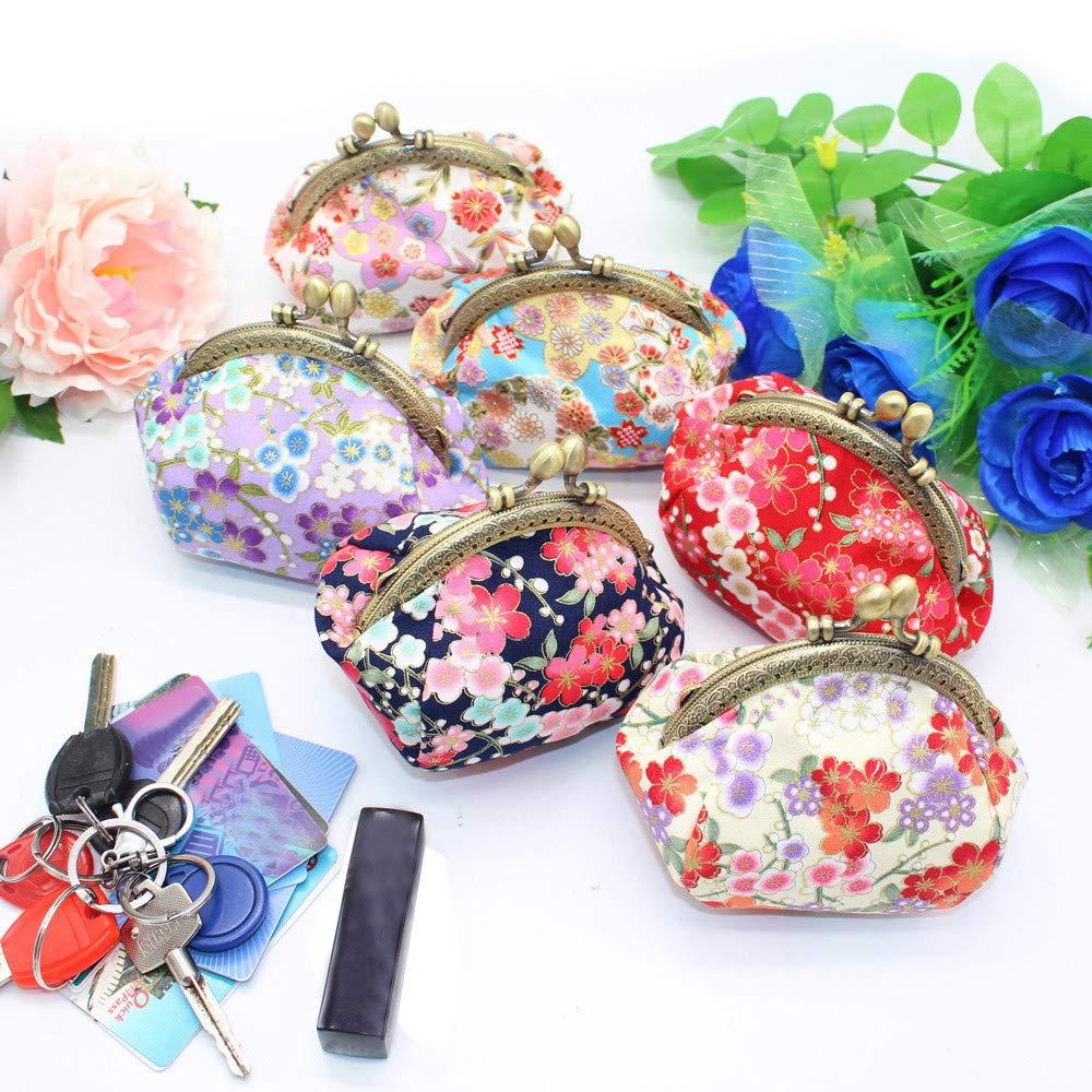 DENGZI Femmes Filles Impression Fleur Collations Porte-monnaie Sac /à Main Portefeuille Sac Changer Porte Cl/é