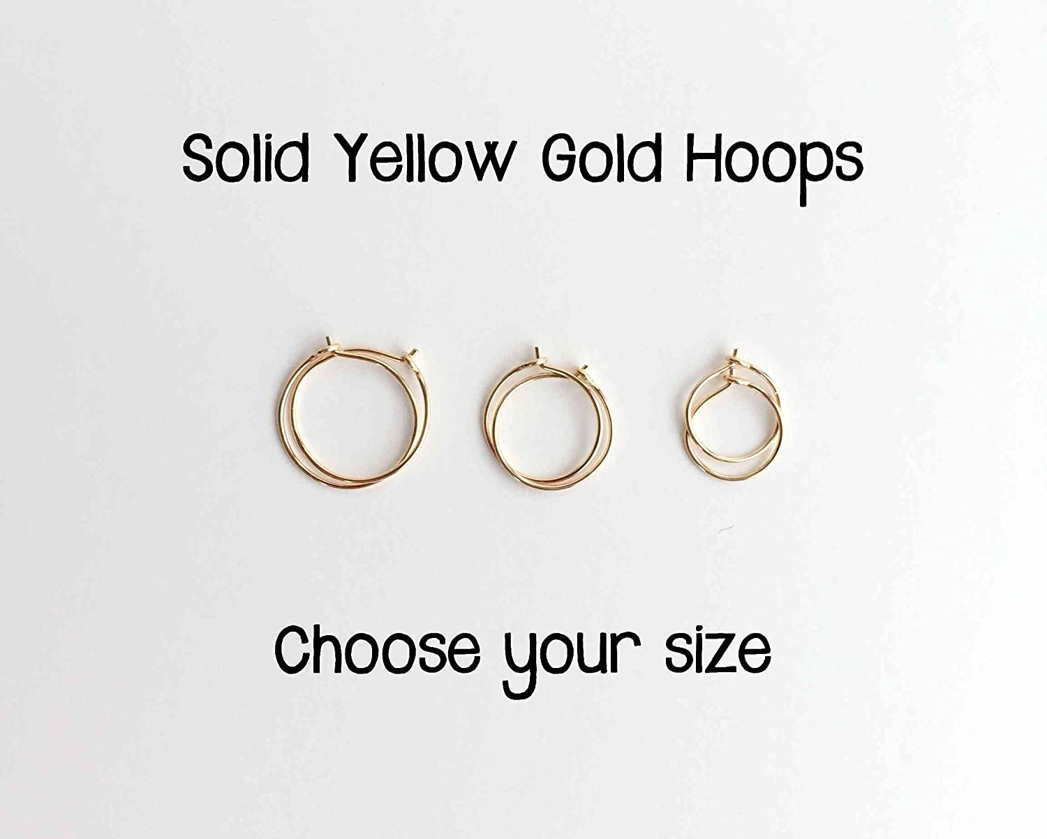 Solid 14k YELLOW Gold Hoop Earrings Handmade. Choose your size.