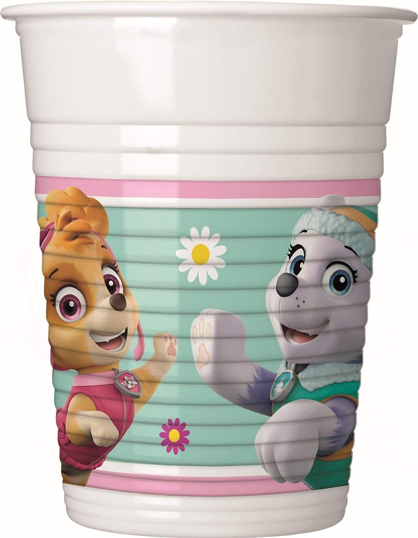 Procos 90276 Paw Patrol Skye & Everest - Vasos de plástico (8 Unidades), Color Rosa y Verde: Amazon.es: Juguetes y juegos
