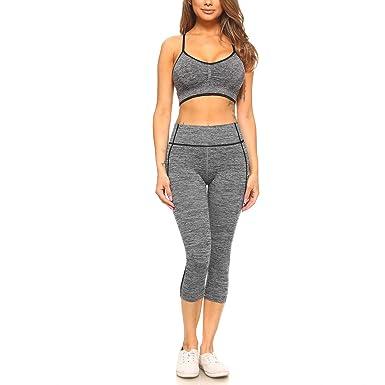 ac91d866da00e5 Fashionazzle Women's High Waist Workout Yoga Pants Power Flex Leggings & Top  Set (FYS03-