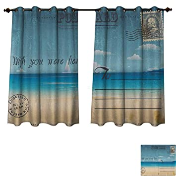 Travel Blackout Thermal Backed Curtains For Living Room Nostalgic Tropical Summer Season Backdrop On Vintage Card