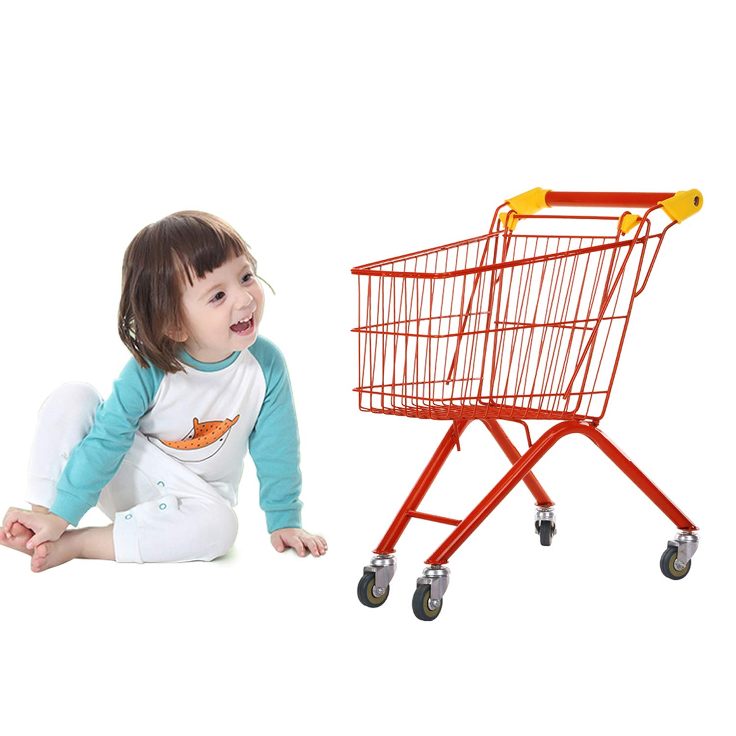 RAINBOW TOYFROG Toy Grocery Cart for Kitchen Play - Shopping Cart Toy | Play Kitchen Accessories - Toy Shopping Cart for Toddlers Solid & Sturdy Metal Steel Frame - Beautiful Colors!