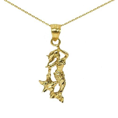 Amazon 14k yellow gold mermaid pendant handmade 14k yellow gold mermaid pendant aloadofball Choice Image