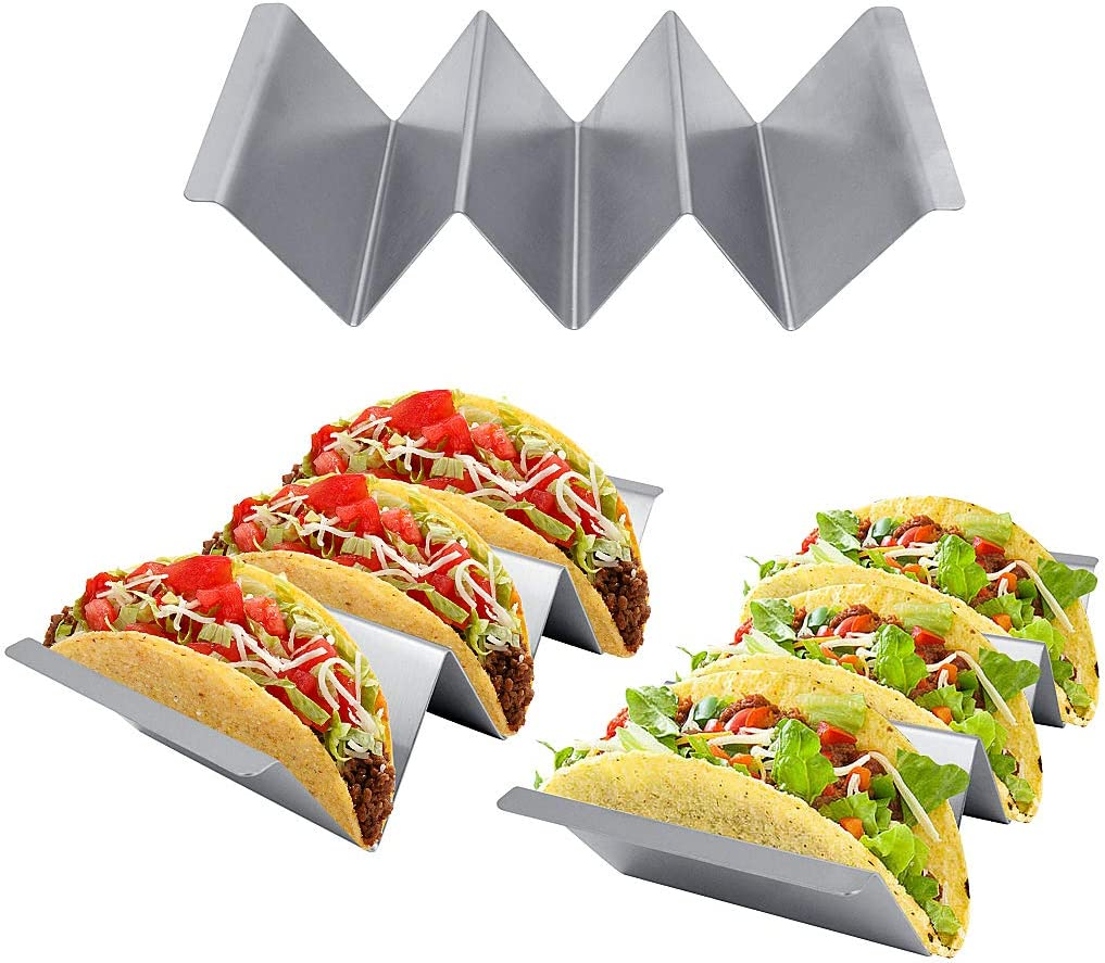 Oven Grill Microwave Safe Stainless Steel Taco Stands Holds 2 to 3 Tortillas KELYDI Taco Holders 3 Pack