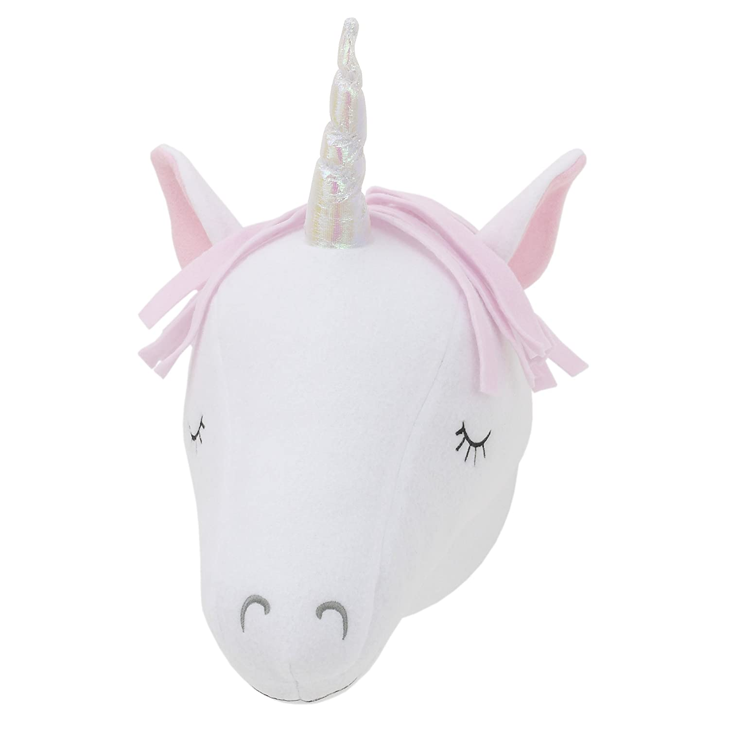 Little Love by NoJo – 3-D White/Pink Unicorn Stuffed Wall Hanging Decor, Fauxidermy - Nursery, Bedroom or Playroom Décor