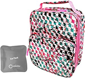 Lunch Box for Girls with Ice Pack, Large Insulated Bag for Primary Middle School Girl Tweens Teens, Container Boxes for Big Kid Snacks Lunches, BPA Free, Fits Kinsho Bento, Pink Sporty