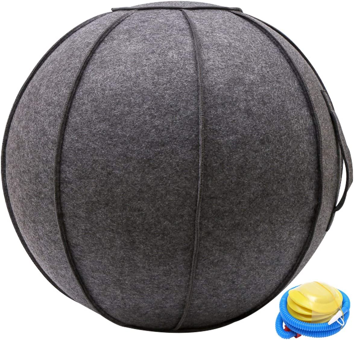N/N 65cm Sitting Ball Chair for Office, Dorm, and Home, Pilates Exercise Yoga Ball with Cover, Lightweight Self-Standing Ergonomic Posture Activating Exercise Ball Solution with Handle and Pump