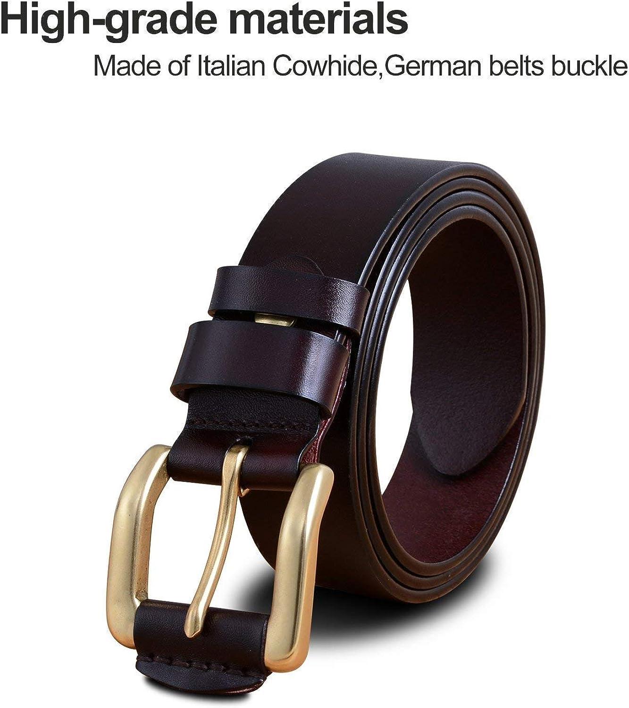 LVLUOYE Mens belt Trendy Leather Brass Prong Buckle Leather Dress For Men Men