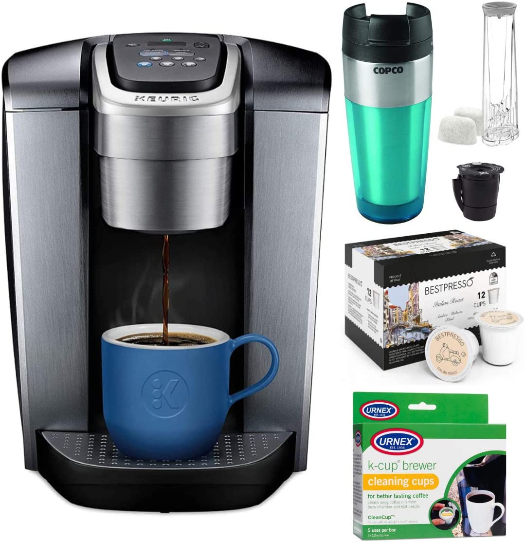 Keurig K-Elite Single Serve K-Cup Pod Coffee Maker with Extra Filter, 12-Count Italian Roast, Cleaning Cups and Tumbler Bundle (4 Items)