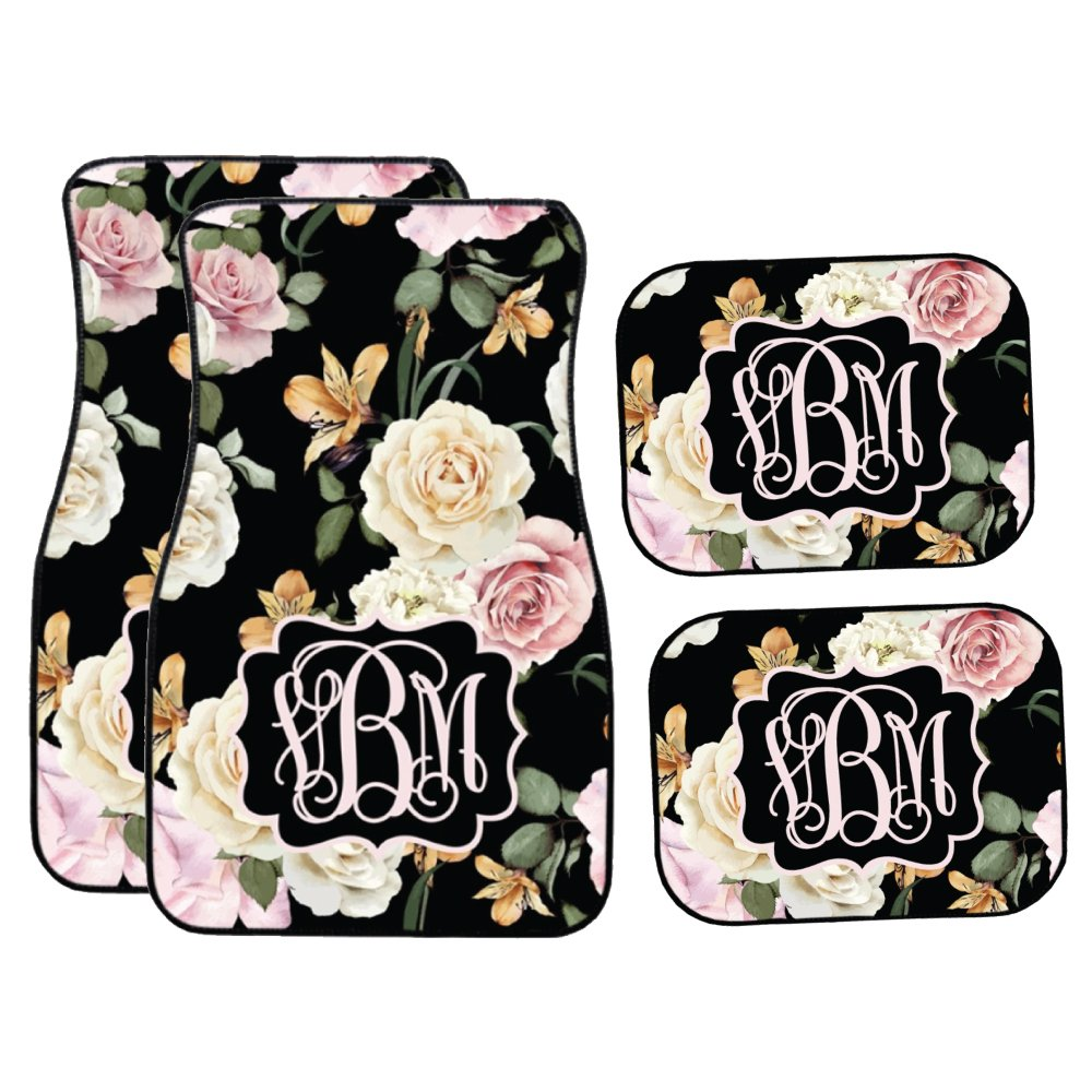 Glitter Squad Personalized Black Floral   Pink and Cream Roses Car Mats (Set of 4)