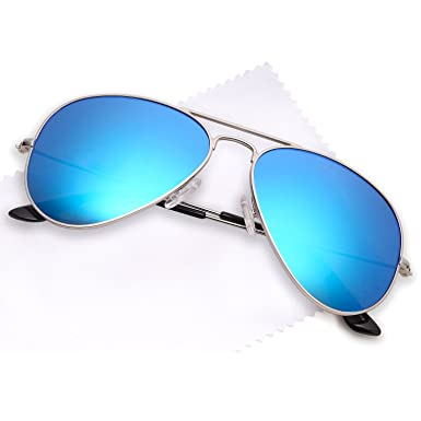 6b8d6d0c50 JETPAL Men   Womens Aviator UV400 Sunglasses - Non Polarized Blue Mirror  Lens Silver Frame