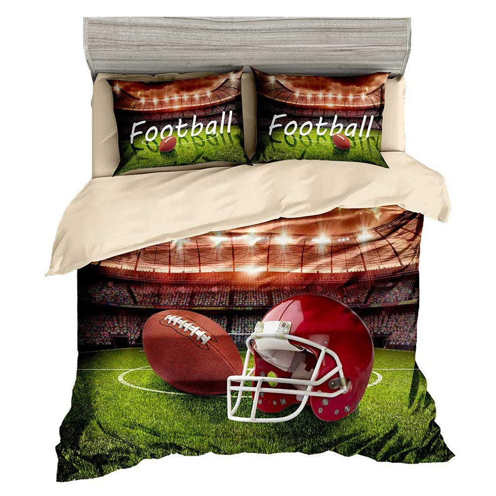 Beddingwish Rugby USA Football Course Pattern Bedding Set,3D Microfiber Sports Bed Set Men Teens Boys,(1 Duvet Cover + 2 Pillowshams, No Comforter,3Pcs) -Twin Size