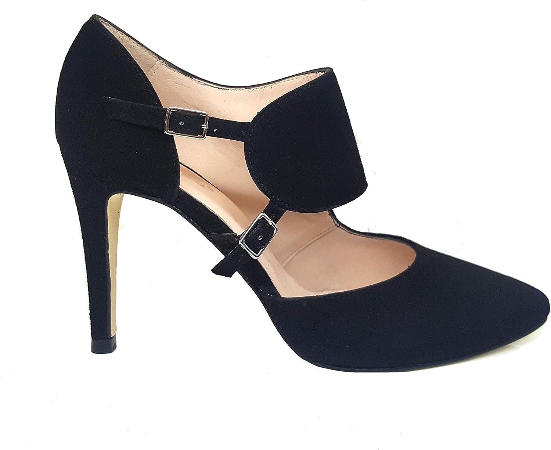 TALLA 39 EU. Gennia RESPIRO. - Zapatos de Tacon de Aguja 9 cm con Punta Fina Cerrada para Mujer y Cierre con Hebilla Metalica