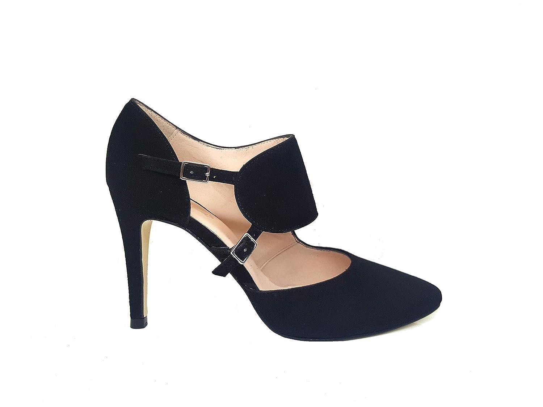 TALLA 38 EU. Gennia RESPIRO. - Zapatos de Tacon de Aguja 9 cm con Punta Fina Cerrada para Mujer y Cierre con Hebilla Metalica