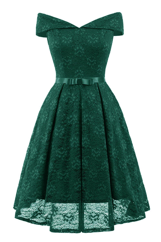 Aibwet Elegant Vintage 1950s Style Bridesmaid Dresses Bow Floral Lace Off Shoulder Slim V Neck Cocktail Party Formal Swing Dress (L, Green_0)