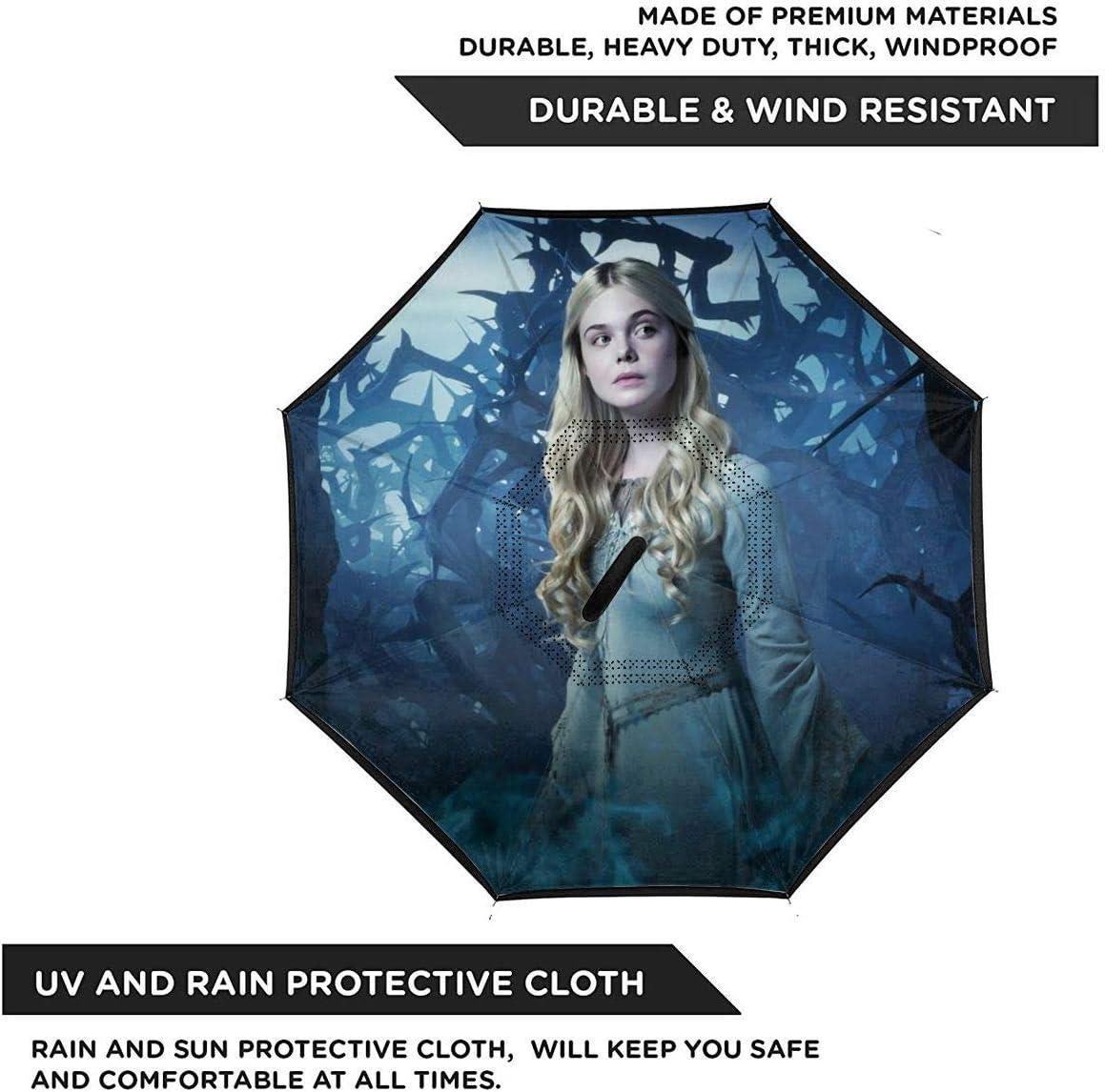 Windproof And Rainproof Double Folding Inverted Umbrella Maleficent Car Reverse Umbrella With C-Shaped Handle UV Protection Inverted Folding Umbrellas