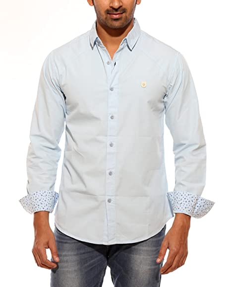 5336bbca05eb24 Spykar Mens Sky Blue Retro fit Mid Rise Casual Shirts (XX-Large)   Amazon.in  Clothing   Accessories