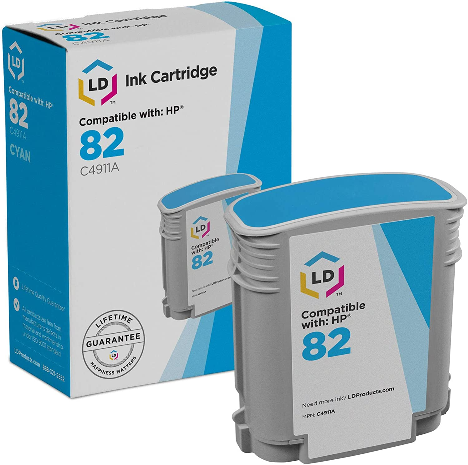 LD Remanufactured Ink Cartridge Replacement for HP 82 C4911A (Cyan)