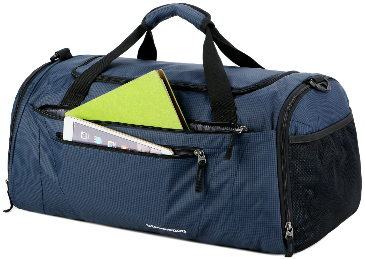 0a165411592 Mouteenoo Gym Bag 40L Sports Travel Duffel Bag for Men and Women with Shoes  Compartment Blue