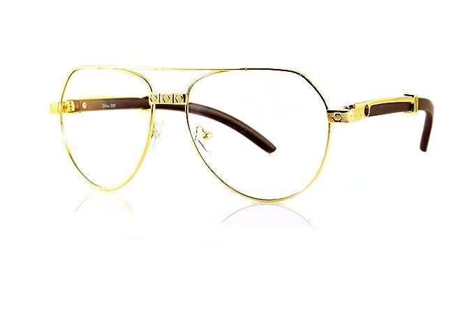 27f60bf8ba6 FBL  80 Vintage Aviator Diamond Engraved Metal Wood Clear Eyeglasses A109  ((Clear)