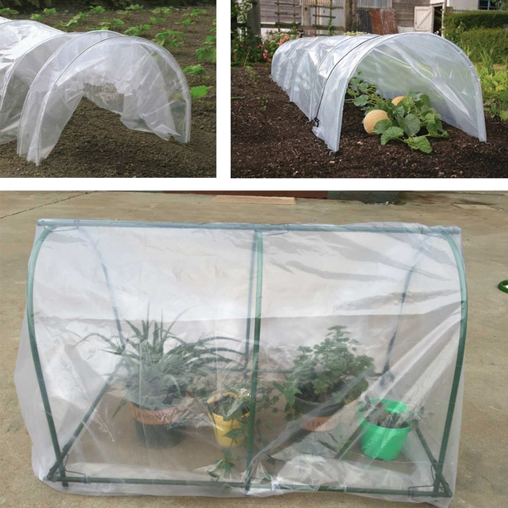 Agfabric 2.4Mil Plastic Covering Clear Polyethylene Greenhouse Film UV Resistant for Grow Tunnel and Garden Hoop, Plant Cover&Frost Blanket for Season Extension, 6x8ft